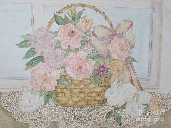 Wicker Basket Art Print featuring the painting Wicker And Old Lace by Patti Lennox