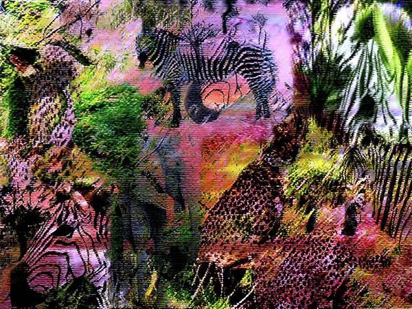 Wildlife Art Print featuring the digital art Wildlife Pachwork by Carole Guillen