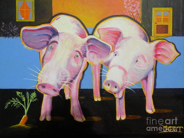 Pigs Art Print featuring the painting Wiley And Mut by Christine Belt
