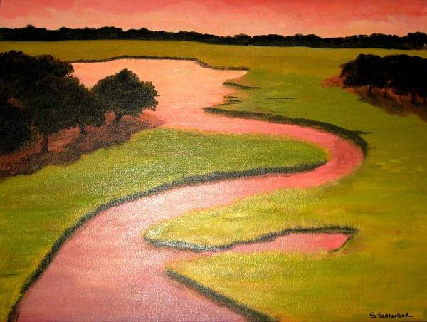 Landscape With River Art Print featuring the painting Winding River by Sheryl Sutherland
