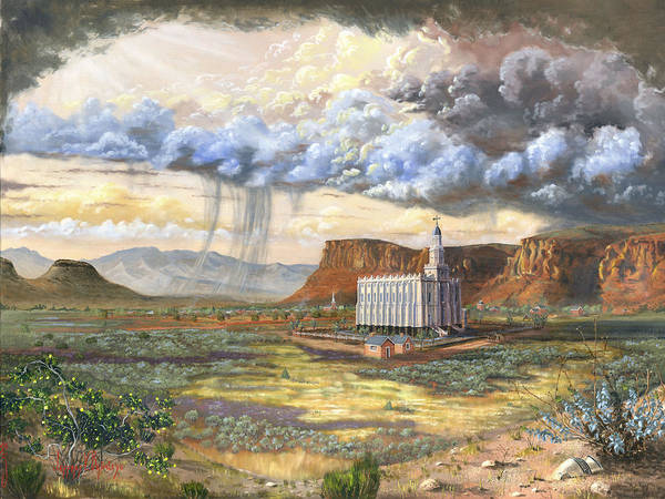 St. George Temple Art Print featuring the painting Windows Of Heaven by Jeff Brimley