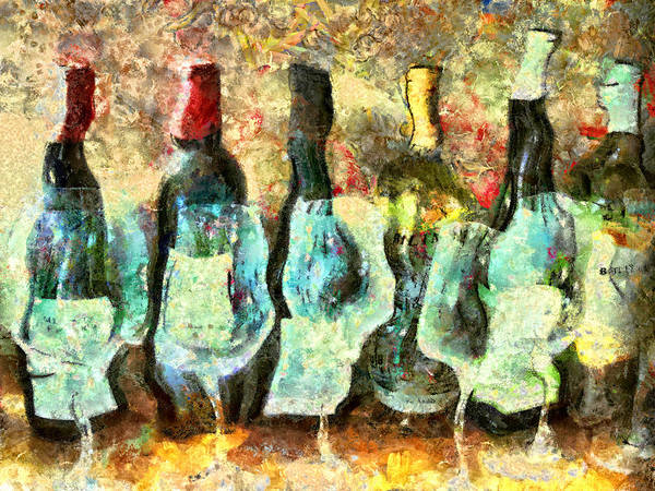 Wine Art Print featuring the mixed media Wine On The Town by Marilyn Sholin
