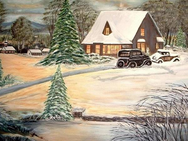 Landscape Home Trees Church Winter Art Print featuring the painting Winter Home by Kenneth LePoidevin