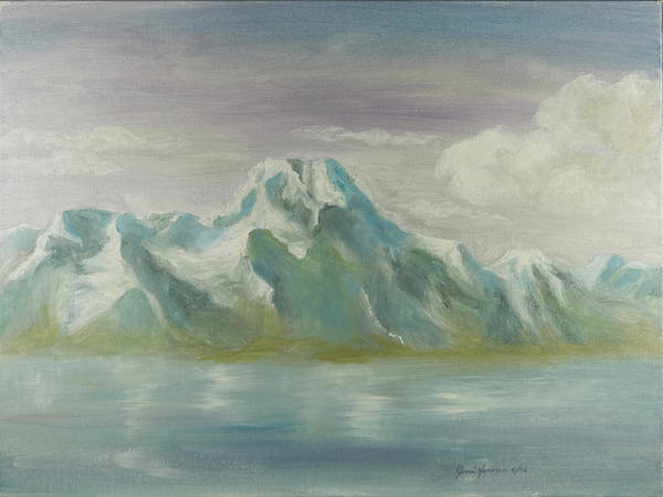 Mountains Art Print featuring the painting Winter Mountains by Joni Herman