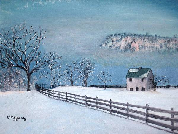 Landscape Art Print featuring the painting Winter Refuge by L A Raven