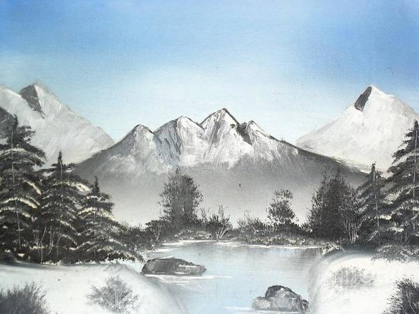 Winter River Art Print featuring the painting Winter River by Damion Powell