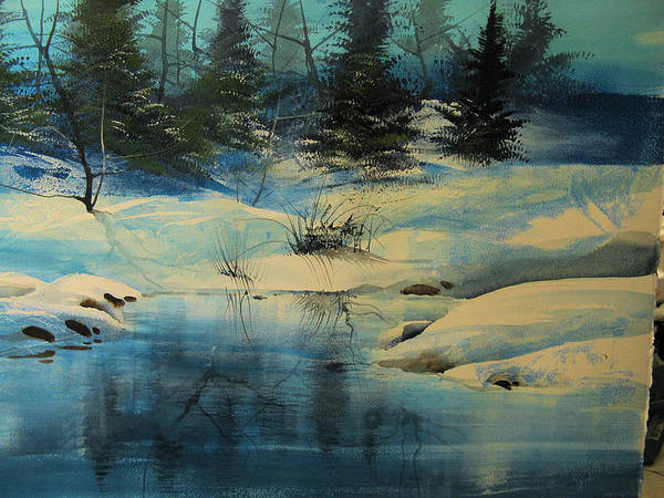 Landscape Art Print featuring the painting Winterscape by Robert Carver
