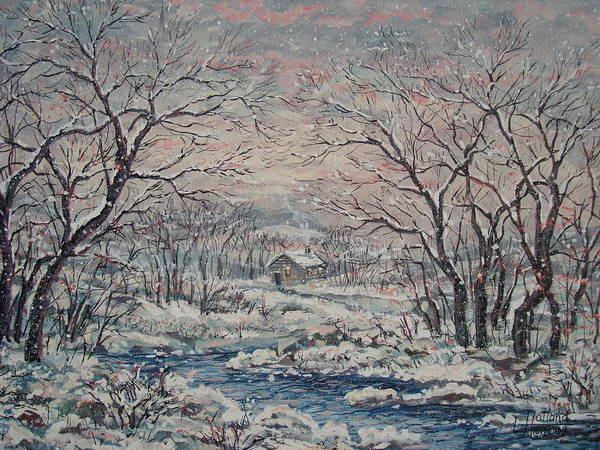 Landscape Art Print featuring the painting Wintery December by Leonard Holland