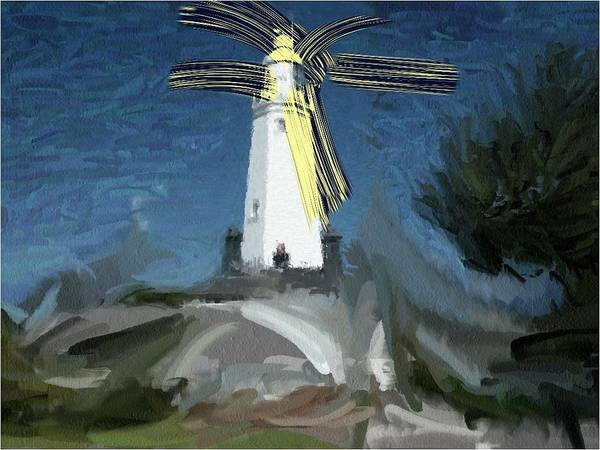 Withernsea Lighthouse Storm Humberide Atmospheric Art Print featuring the painting Withernsea Lighthouse by Phil Ward