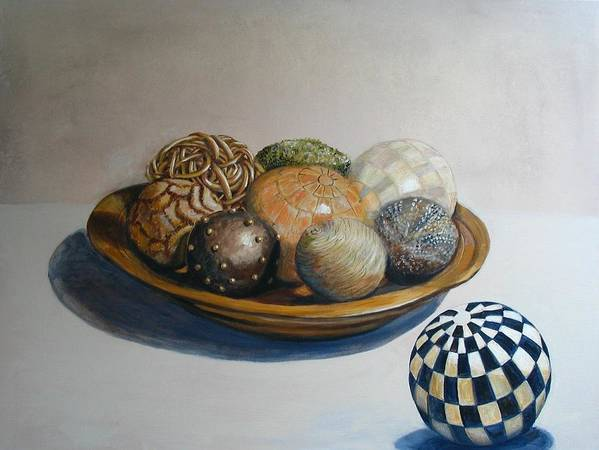 Still Life Art Print featuring the painting Wooden Bowl With Spheres by Yvonne Ayoub