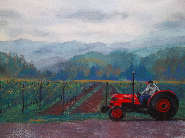 Vineyard Art Print featuring the painting Working The Vineyard by Becky Chappell