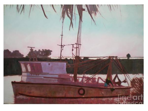 Seascape Art Print featuring the digital art Yankee Town Fishing Boat by Hal Newhouser