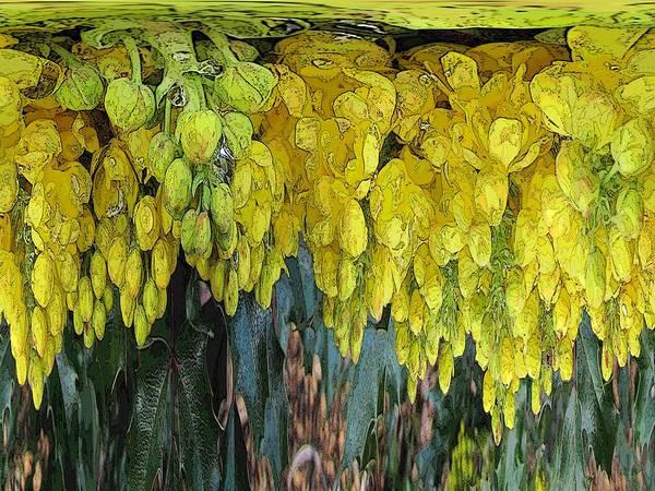 Yellow Art Print featuring the digital art Yellow Buds by Tim Allen