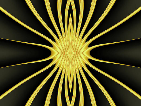 Art Art Print featuring the digital art Yellow Starburst On Black by Myxtl Turnipseed