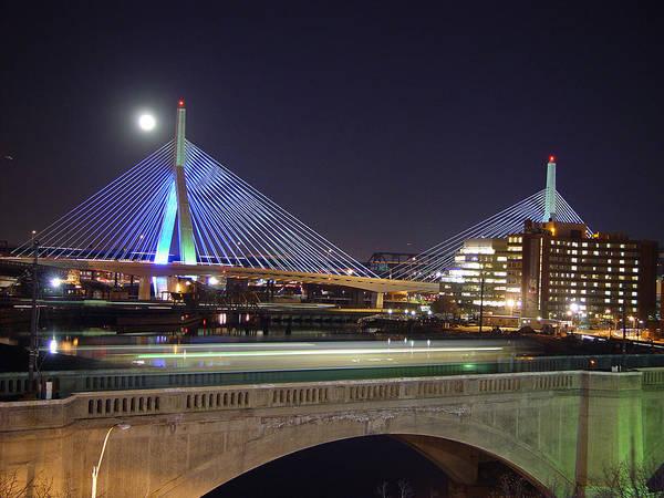 Night Art Print featuring the photograph Zakim Bridge by Eric Workman