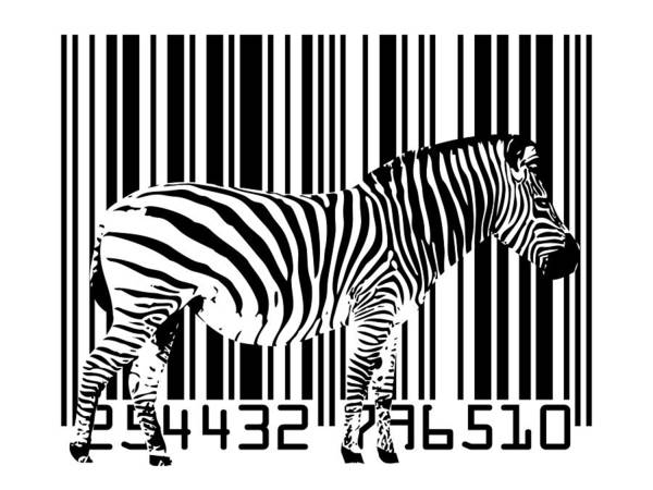 Zebra Art Print featuring the digital art Zebra Barcode by Michael Tompsett