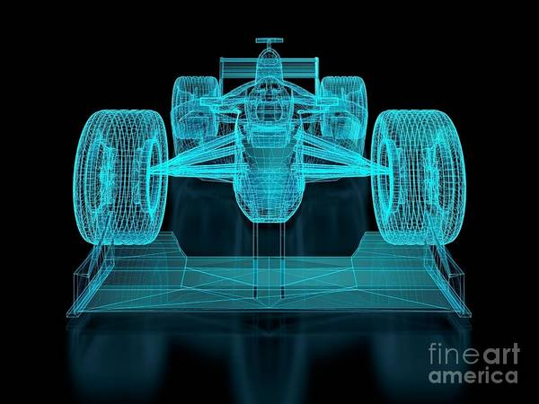 Aerodynamics Art Print featuring the digital art Formula One Mesh. Part Of A Series by Nuno Andre