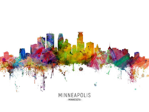 Minneapolis Art Print featuring the digital art Minneapolis Minnesota Skyline by Michael Tompsett