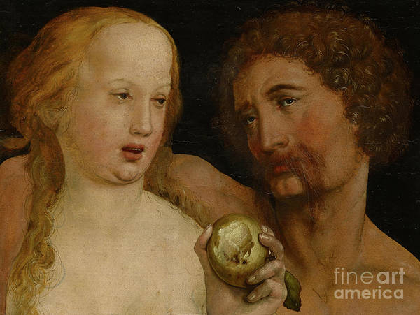 Holbein Art Print featuring the painting Adam And Eve, 1517 by Hans Holbein the Younger