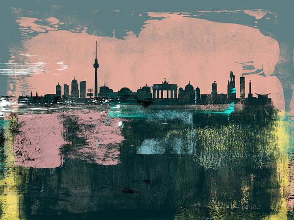 Berlin Art Print featuring the mixed media Berlin Abstract Skyline II by Naxart Studio