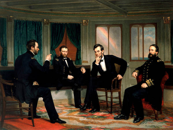 Civil War Art Print featuring the painting Civil War Union Leaders - The Peacemakers - George P.a. Healy by War Is Hell Store