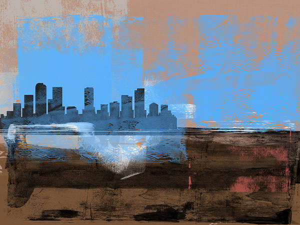 Denver Art Print featuring the mixed media Denver Abstract Skyline I by Naxart Studio