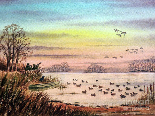 Duck Hunting With Granddad Art Print by Bill Holkham