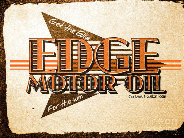 Motor Art Print featuring the photograph Edge Motor Oil Tin Sign by Jorgo Photography - Wall Art Gallery