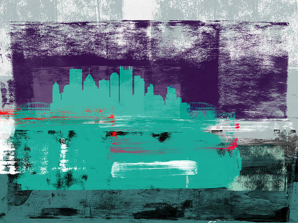 Pittsburgh Art Print featuring the mixed media Pittsburgh Abstract Skyline II by Naxart Studio