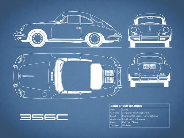 Porsche Art Print featuring the photograph Porsche 356 C Blueprint by Mark Rogan