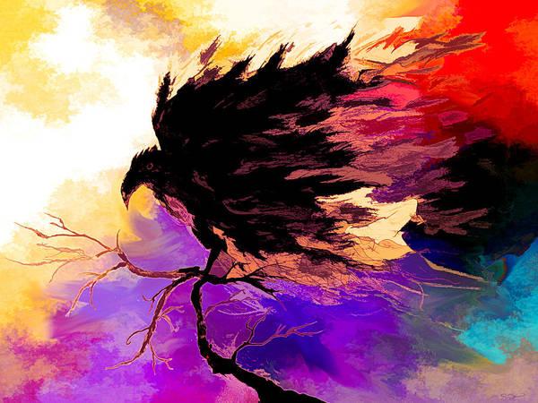 Raven Magic Colors Art Print