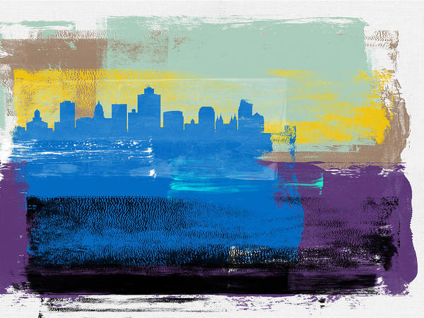 Salt Lake City Art Print featuring the mixed media Salt Lake City Abstract Skyline II by Naxart Studio