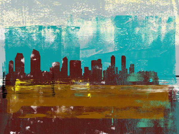 San Diego Art Print featuring the mixed media San Diego Abstract Skyline II by Naxart Studio