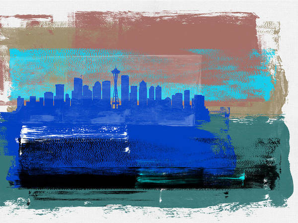 Seattle Art Print featuring the mixed media Seattle Abstract Skyline II by Naxart Studio