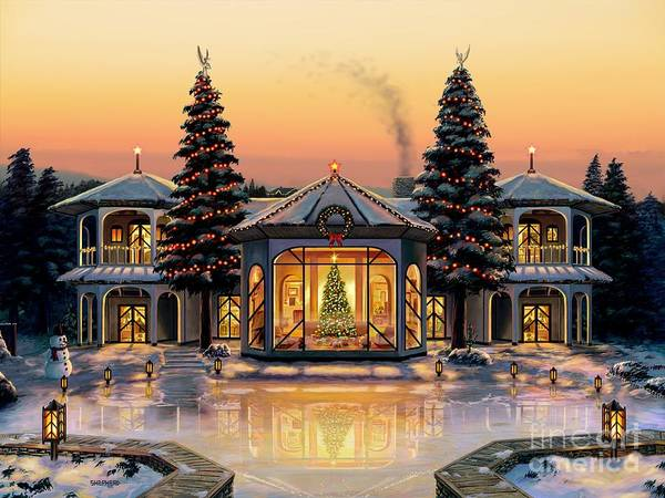 Christmas Art Print featuring the painting A Warm Home For The Holidays by Stu Shepherd