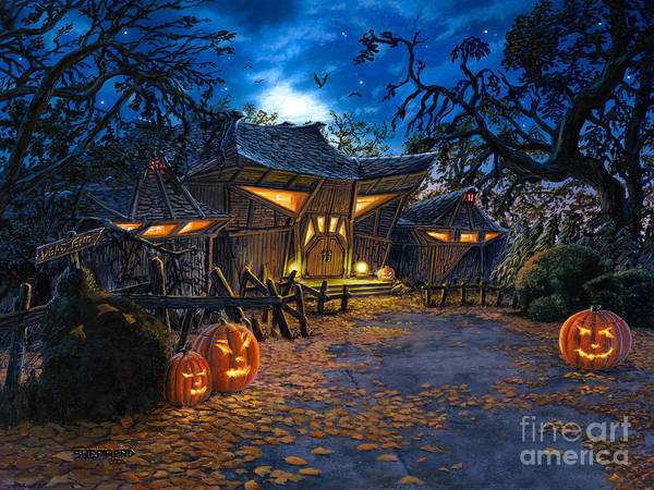 Haunted House Art Print featuring the painting The House At Dead End by Stu Shepherd