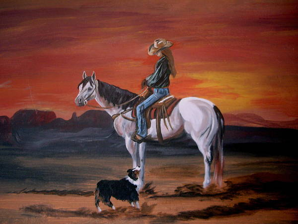 Desert Art Print featuring the painting Friends Sharing A Sunset by Glenda Smith