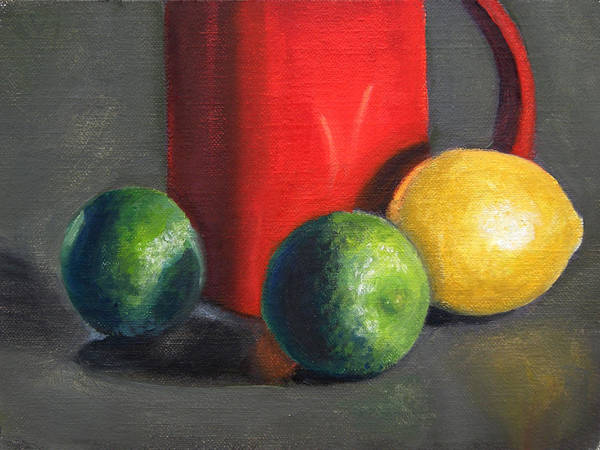Still Life Art Print featuring the painting Lemon And Limes by Becky Alden