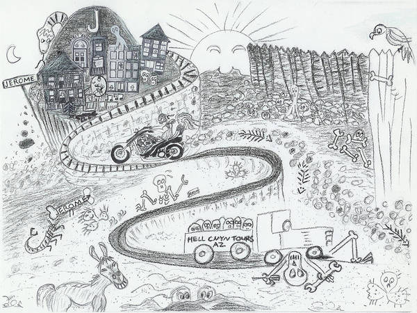 Road Art Print featuring the drawing The Road To Jerome Arizona by Ingrid Szabo