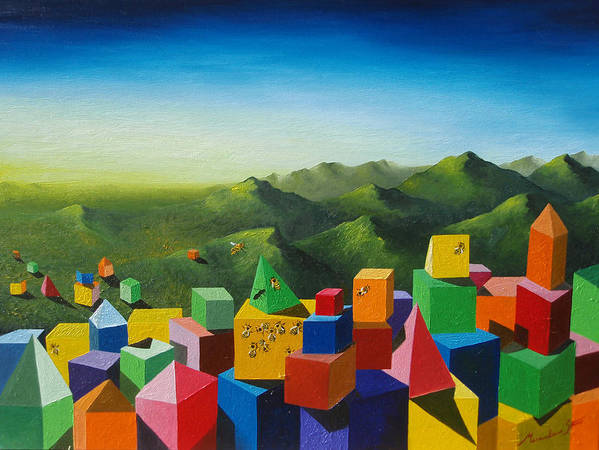 Cubes Art Print featuring the painting Neverland by Massimiliano Stanco