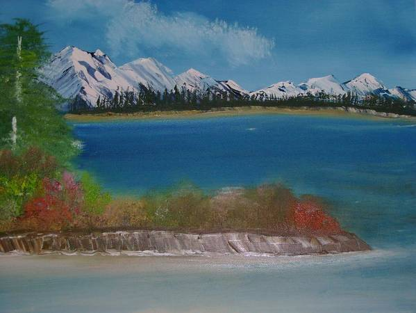 Mountains Art Print featuring the painting Snow Capped Mountains by Dottie Briggs