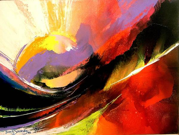 Abstract Art Print featuring the painting Sunset by Yvette Sikorsky