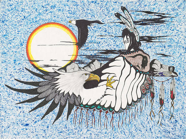 Eagle. Spirit Art Print featuring the painting Untitled by Richard Masuskapoe