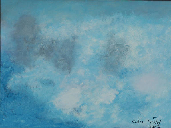 Clouds Art Print featuring the painting Gathering Storm Clouds  by Harris Gulko