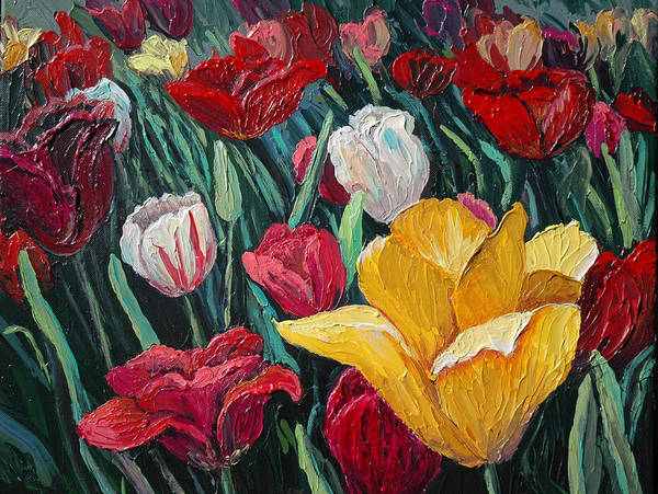 Floral Art Print featuring the painting Tulips by Cathy Fuchs-Holman