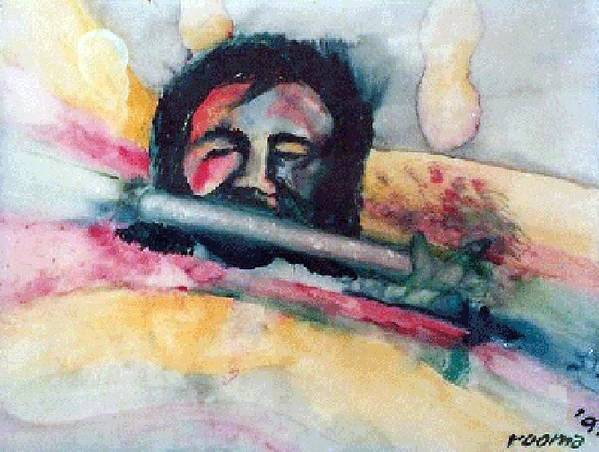 Watercolors Art Print featuring the painting The Flute Player by Rooma Mehra