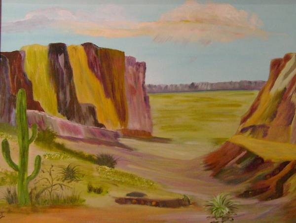 Southwest Art Print featuring the painting Southwest Mountains by Dottie Briggs