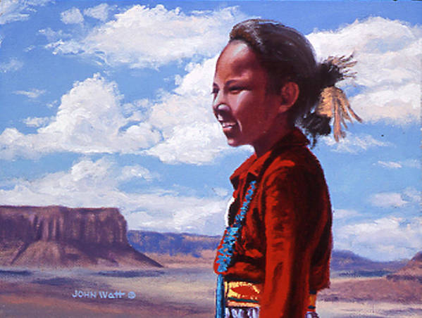 Navajo Indian Southwestern Monument Valley Art Print featuring the painting Futures Bright by John Watt