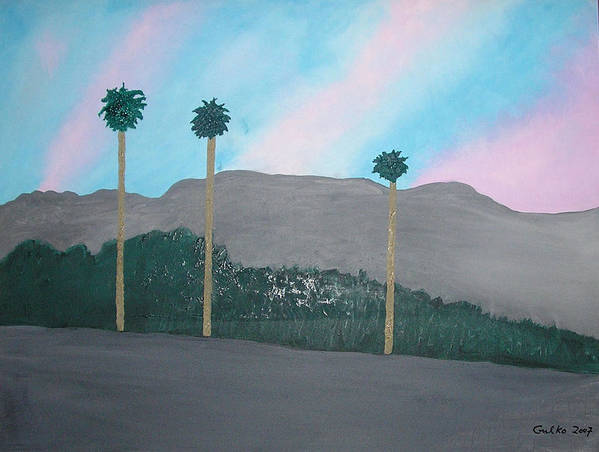 Desert Art Print featuring the painting Three Palm Trees In The Desert by Harris Gulko