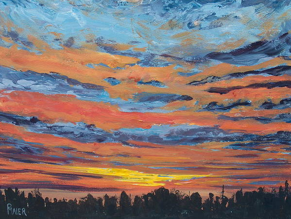 Landscape Art Print featuring the painting Mornin II by Pete Maier